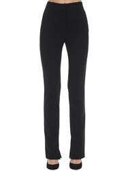 Victoria Beckham Skinny Side Split Textured Cady Pants Black