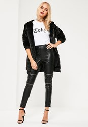 Missguided Black Premium Zip Detail Faux Leather Trousers
