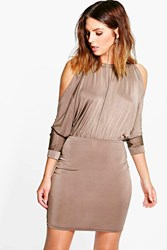 Boohoo Open Shoulder Slinky Bodycon Dress Mocha