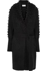 Temperley London Nell Belted Wool Blend Cardigan Black