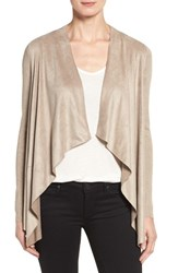 T Tahari Women's 'Milly' Faux Suede Front Cardigan Taupe Melange