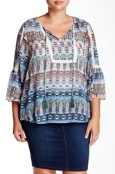 Jessica Simpson Tabitha Shadow Stripe Peasant Blouse Plus Size Multi