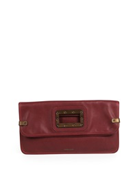 Granada Fold Over Clutch Bag Maroon Tomas Maier