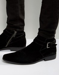 Asos Chelsea Boots In Black Faux Suede With Strap Detail Black
