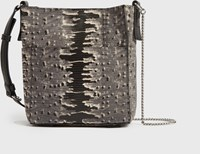 Allsaints Adelina Small North South Leather Tote Bag Grey Multi