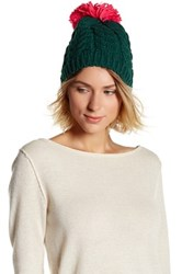 Cara Accessories Pompom Sweater Hat Green