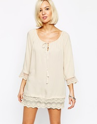 Vero Moda Tunic With Lace Detail Edge Oatmeal