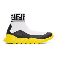 White Tech Knit 'Forever Fendi' High Top Sneakers