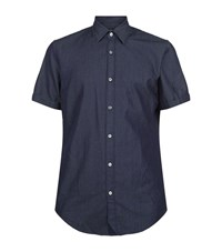 Boss Short Sleeve Denim Shirt Male Navy