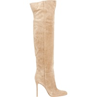 Suede Over The Knee Boots Beige Tan