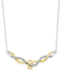 Victoria Townsend 18K Gold Over Sterling Silver And Sterling Silver Necklace Diamond Accent Swirl Necklace