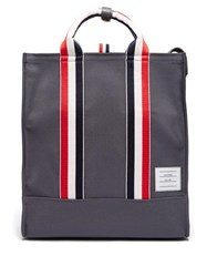 Thom Browne Tricolour Stripe Leather Trimmed Canvas Tote Bag Dark Grey