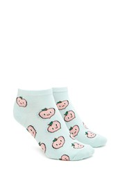 Forever 21 Happy Peach Print Ankle Socks Mint Multi