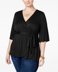 American Rag Trendy Plus Size Faux Wrap Top Only At Macy's Classic Black