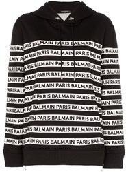 Balmain Logo Print Tape Cotton Hoodie Black
