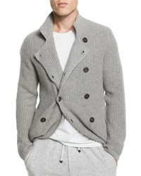Brunello Cucinelli Double Breasted Shaker Knit Cashmere Cardigan Gray