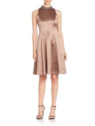 Kay Unger Solid Fit And Flare Dress Mocha