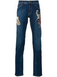 Dolce And Gabbana Jazz Patch Jeans Blue