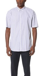 Zanerobe Stripe Rugger Short Sleeve Shirt Black White