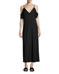 Alexander Wang Luxe Ponte Cold Shoulder Maxi Dress Black