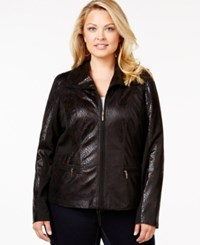Jm Collection Woman Jm Collection Plus Size Snakeskin Print Moto Jacket Only At Macy's