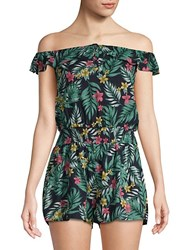 Lucca Couture Printed Ruffled Romper Luau Navy