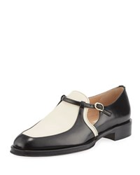 Valentino Two Tone Leather Loafer Black White