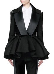 Dice Kayek Made To Order Open Shoulder Ruffle Peplum Tuxedo Jacket Black