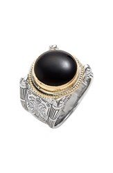 Men's Konstantino 'Minos' Etched Black Onyx Ring