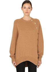Givenchy Side Button Wool Blend Knit Sweater Camel