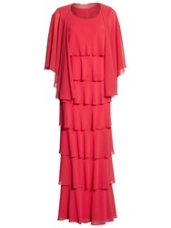 Gina Bacconi Beaded Edge Tiered Maxi Dress And Shawl Bright Cherry