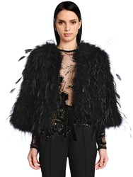 Elie Saab Mixed Feathers Short Jacket