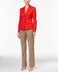 Le Suit Three Button Colorblocked Pantsuit Vermillion