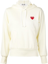 Comme Des Garcons Play Logo Patch Hoodie White