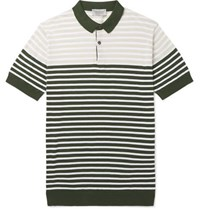 John Smedley Slim Fit Striped Sea Island Cotton Polo Shirt Green