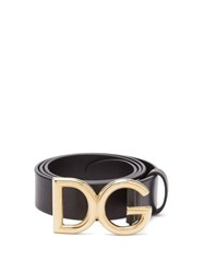 Dolce And Gabbana Dg Buckle Leather Belt Black Gold