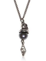 Emanuele Bicocchi Pearl And Silver Necklace Silver Blue