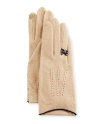 Portolano Cashmere Blend Gloves W Leather Bow Camel Brown