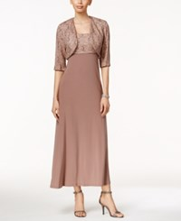 R And M Richards Sequined Lace Fit And Flare Dress And Jacket Mocha