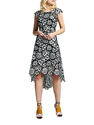 Kay Unger Floral Pattern Asymmetric Dress Black White
