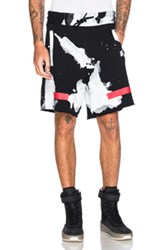 Off White Liquid Spots Shorts In Black Abstract Black Abstract