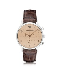 Emporio Armani Beta Stainless Steel Round Case Men's Watch W Croco Embossed Leather Strap Brown