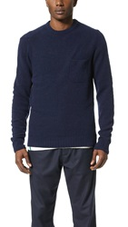 Ymc Towelling Crew Knit Pullover Navy