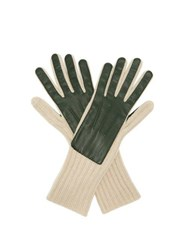 Burberry Leather Panelled Cashmere Gloves Green