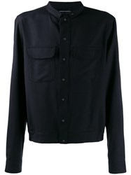 Emporio Armani Relaxed Fit Shirt Jacket Blue