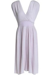 Kain Label Wrap Effect Ruched Cotton Midi Dress Lilac
