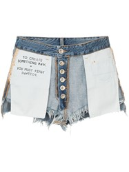 Unravel Project Reverse Denim Cotton Shorts Blue