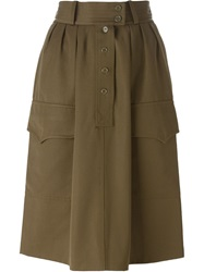 Yves Saint Laurent Vintage Military Skirt Green