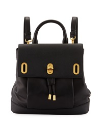 Badgley Mischka Anne Flap Top Leather Backpack Black