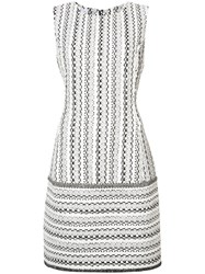 Oscar De La Renta Woven Sleeveless Shift Dress Women Silk Cotton Linen Flax Wool 8 White